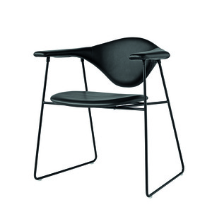 Masculo Dining Chair Sled base fully uph. GUBI Leather 주문 후 4개월 소요